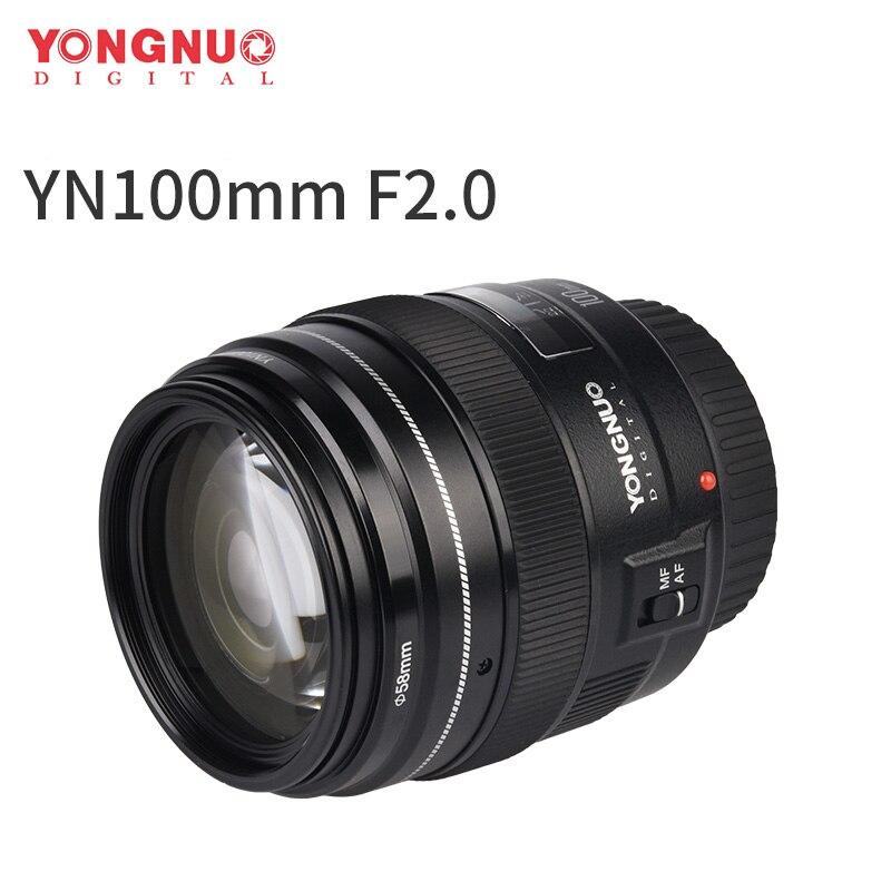 Yongnuo YN100mm F2 moyen téléobjectif Prime objectif de mise au point automatique pour Canon EOS rebelle caméra AF MF 5D 5D IV 1300D T6 760D 750D 1D 5DS