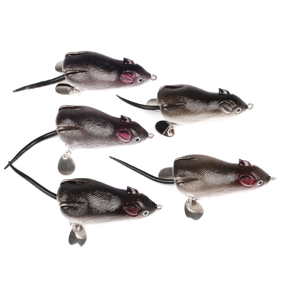(5 pieces/lot) New 17.43G 7CM Ray frog bait mouse Blackfish softbaits soft artificial baits catfish bass fishing lures fish gear