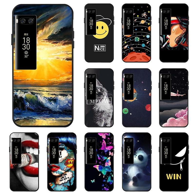Ojeleye Fashion Black Silicon Case For Meizu Pro 7 Cases Anti-knock Phone Cover For Meizu Pro 7 5.2 inch Covers