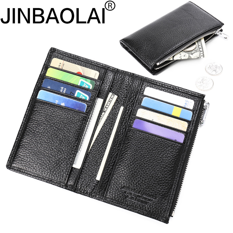 JINBAOLAI Men Wallets Top Genuine Cow Leather Casual Design Purse Men Brand Famous Card holder Mens Wallet carteira masculina etya genuine cow leather men wallets