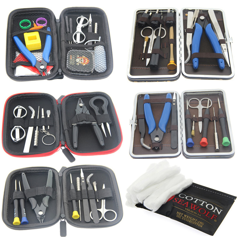 Electronic Cigarette Vape DIY Tool Bag VAPE Cotton Tweezers Pliers Wire Heaters Kit Coil Jig Winding For E-Cigarette Accessories