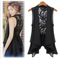 Summer style  large size chiffon vest  womens  lace long vest  black and white color vest sleeveless
