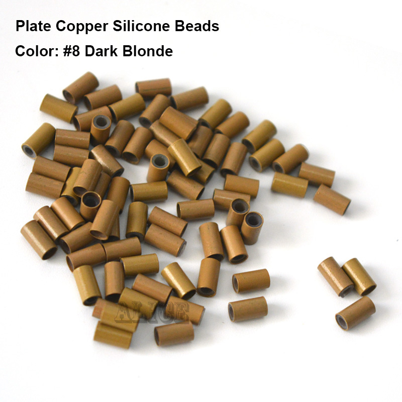 1000pcs 3.4*2.0*6.0MM Plate edge Copper Tube COPPER SILICONE High quality Beads Silicone Micro Ring for Hair Extension Tools