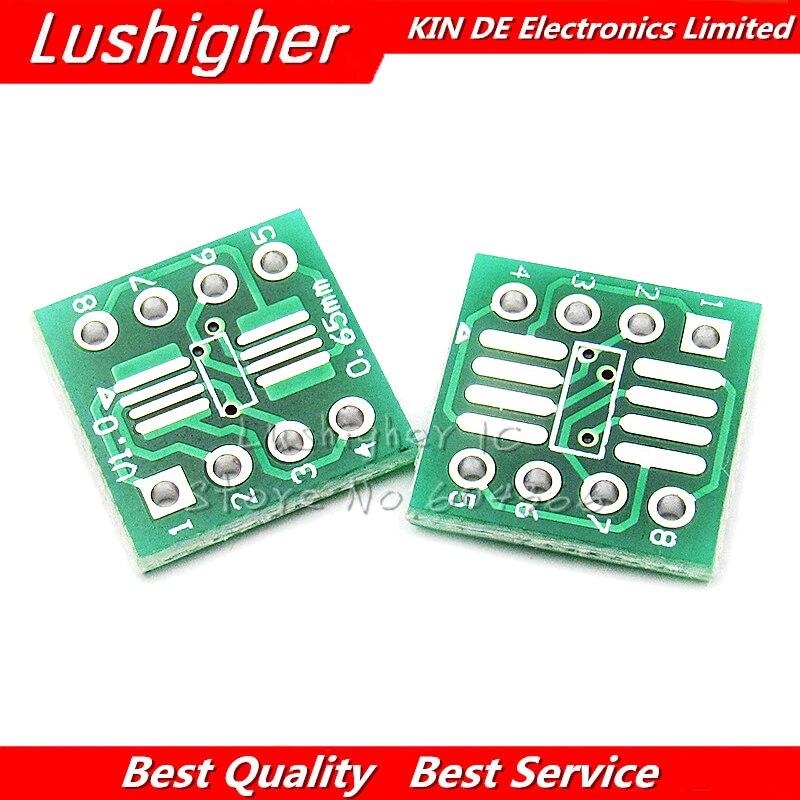 20PCS SSOP8 SOP8 TSSOP8 To DIP8 PCB Transfer Board DIP Pin Board Pitch Adapter