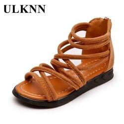 ULKNN sandały gladiatorki dziecięce letnie dziewczęce buty dziecięce rzymskie sandały płaskie tylny suwak stado kostki wycinane Hollow Girls sandały