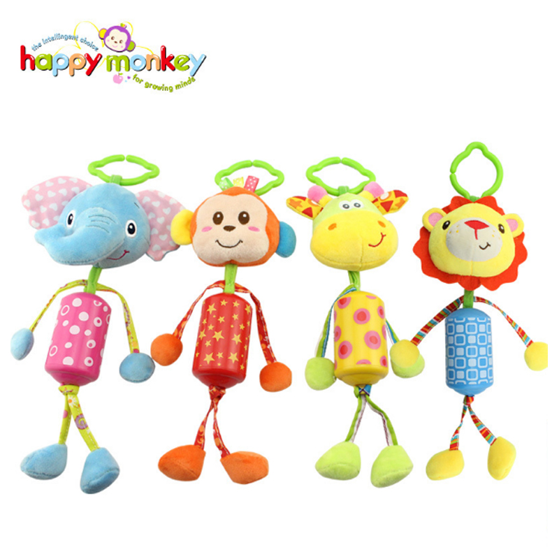 Happy Monkey Hot 4 Types 1 Pcs Lovely Baby Stroller Hanging Toys Plush Animal Baby Rattles Mobile Musical Classic Toys Gifts