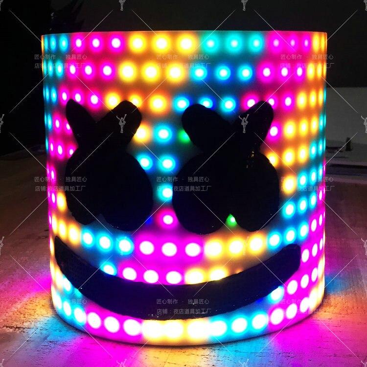 Autorisation officielle DJ filé sucre casque Marshmello masque cosplay pleine tête casque Bar musique Halloween accessoires 17 couleurs