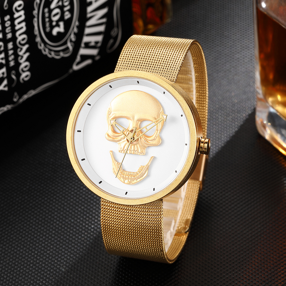Skull Watch Men Women Quartz Stainless Steel Wristwatch Ladies Reloj Mens Steampunk Laser Engraved Male Clock Relogio Masculino skull engraved stainless steel ring