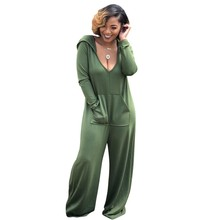 80df7465eb7 Army Green Black Gray Casual Ladies Hooded Jumpsuit Wide Leg Autumn Cotton  Pockets Long Jumpsuits Womens Rompers Overalls K2603