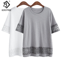 Casual Loose Cotton Women S Tee 2018 Summer Large Size 5XL O Neck Short Sleeve Female