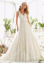 цена на Vivian's Bridal 2018 Fashion Deep V Neck A-line Wedding Dress Sleeveless Backless Lace Applique Sashes Floor-length Bridal Dress