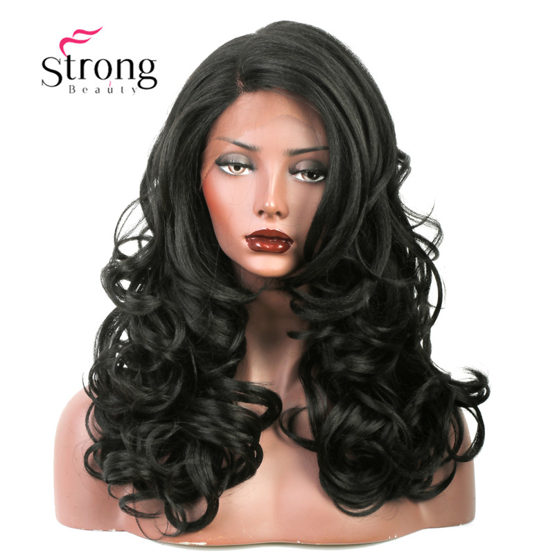 StrongBeauty Lace Front Wig Long Layered Body Wave Heat Resistant L Part Lace Natural Black Synthetic