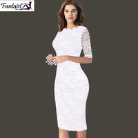 Fantaist Summer Women Vintage Sexy Casual Formal Wedding Party Sheath Fitted White Lace Half Sleeve Print