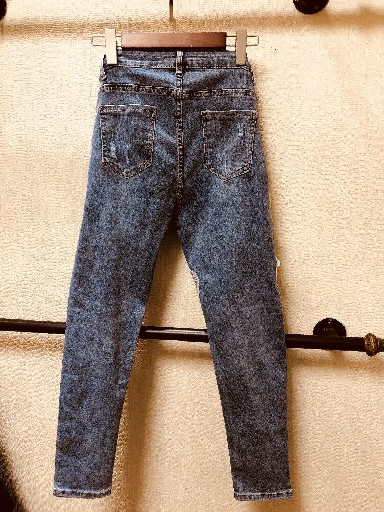 Jeans Et Trou Automne Cowboy Paillettes 2019 Européenne Dessinée Mince Bande Pantalon Coréenne Printemps Station De Lapin Perles Crayon qwafxA4