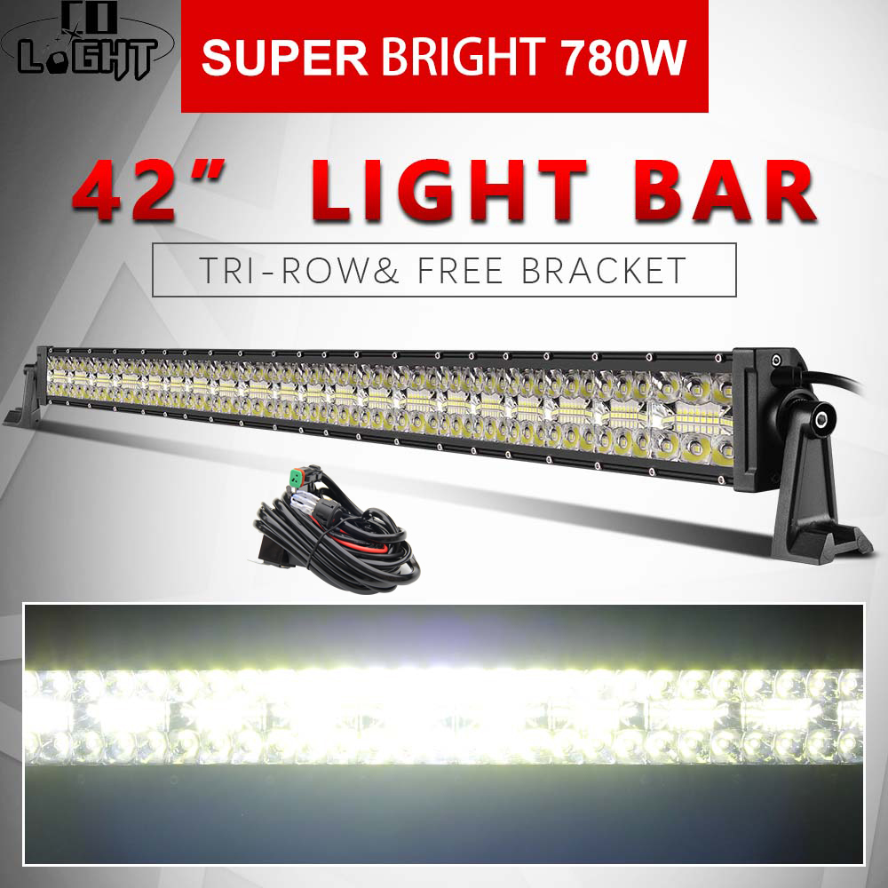 CO LIGHT 42inch 3 Rows Led Light 4x4 Offroad Bar 780W Super Bright Led Bar for