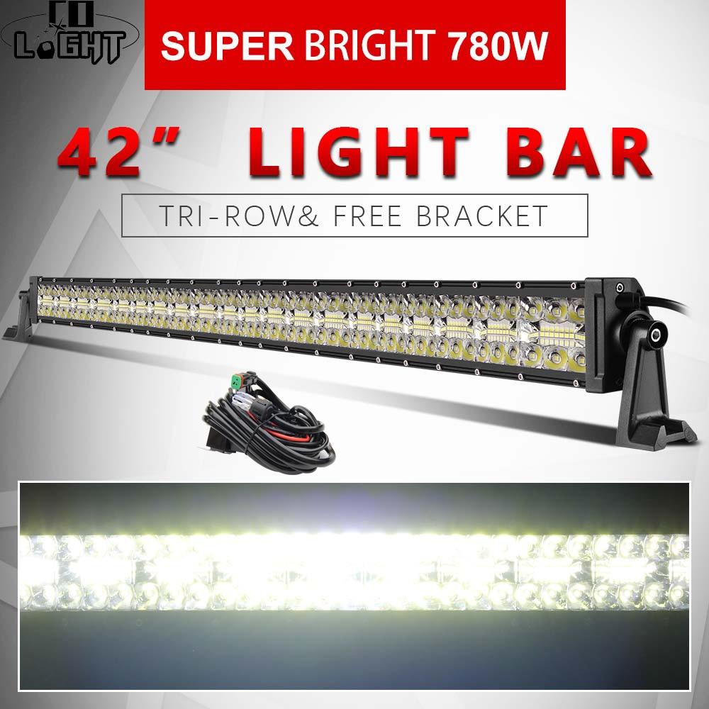 CO LUMIÈRE 42 pouces 3-Rangées lumière led 4x4 Offroad Bar 780 W led très brillante Bar pour 4WD Camion ATV 12 V 24 V Remorque Feux de Travail 12 V 24 V