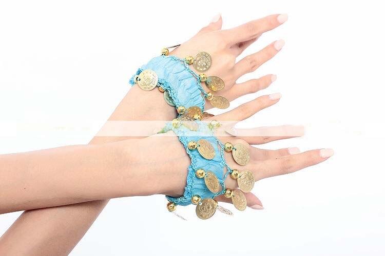 Sporting Vrouwen Buikdans Slijtage Armband Wrist Ankle Arm Been Elastische Manchet Hand Gouden Munt Party Paar
