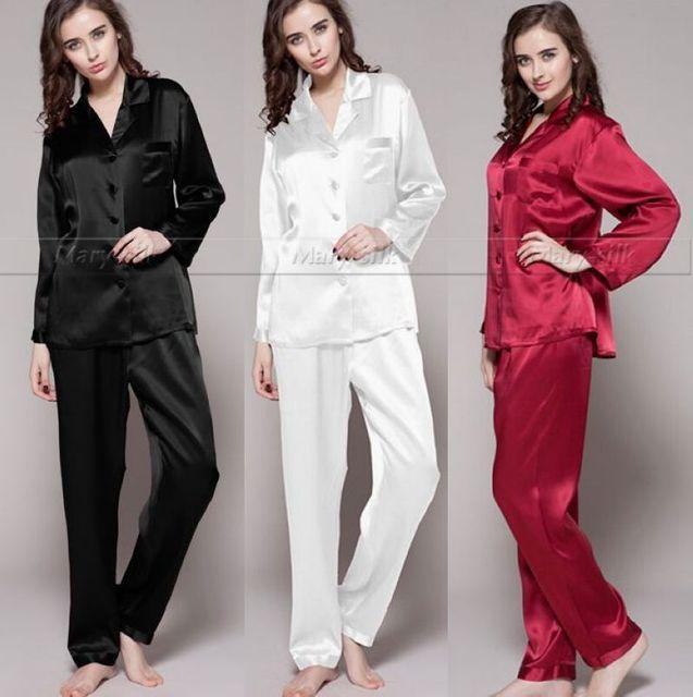 Para mujer de Satén de Seda Pajamas Set Pijama pijama Conjunto ropa de Dormir Loungewear S, M, L, XL, 2XL, 3XL Plus Sólido _ _ Fit All Seasons