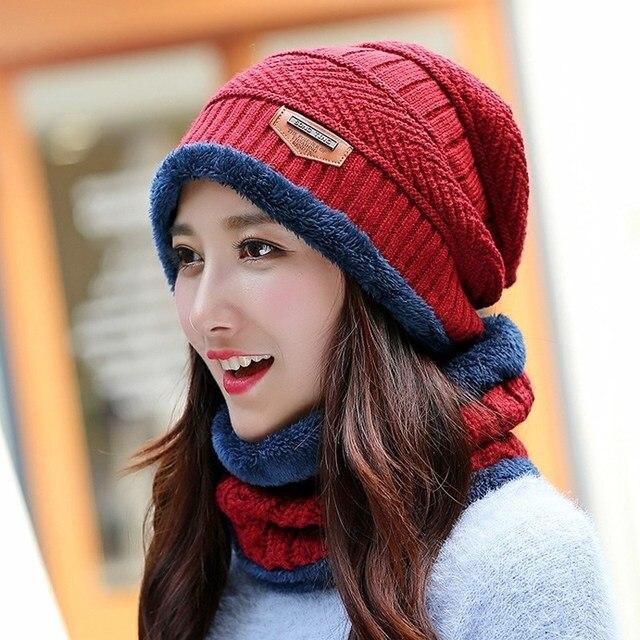 fa6c1ffac0d 11 colors Hat and Scarf Baotou Winter Hat female ear scarf Korean male knit  Women Long Knit Hat cashmere knitting wool cap warm