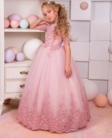 Blush pink lace appliques junior kids flower girl dresses little bridesmaid princess birthday party formal event gowns