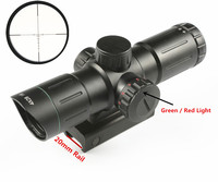 Riflescope 4X28IR Adjustable Green Red Illuminated Dot Hunting scope Tactical Sniper Reticle Optical Sight Scope 20mm Rail caza