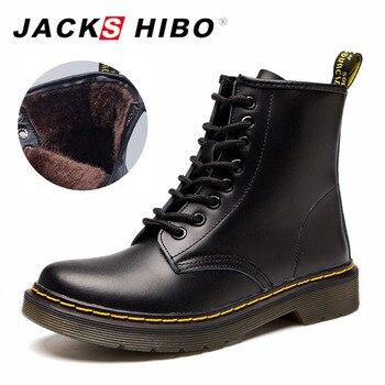 JACKSHIBO Hiver Femmes Cheville Bottes ajouter Fourrure Doublure En Cuir Véritable Moto Bottes pour Femmes Dentelle-up Dames Bottes Chaud chaussures