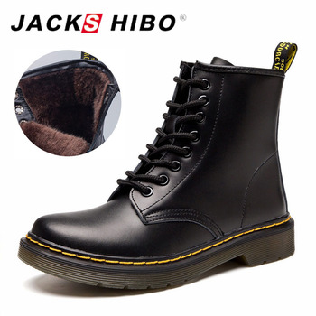 JACKSHIBO Winter Women Ankle Boots add Fur Lining Genuine Leather Motorcycle Boots for Women Lace-up Ladies Boots Warm Shoes