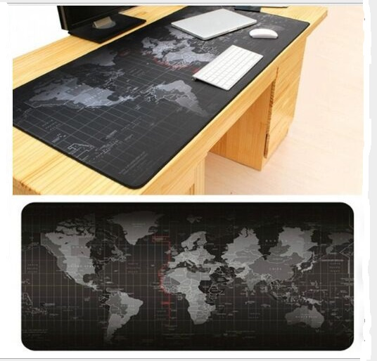 Super stort 1000x500mm / 900x40mm / 700x300mm / 600x300mm World Map gummi musemåtte computerspil tablet mousepad med kant låsning