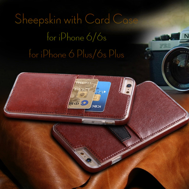 f073a5a7f8 Genuine Leather Case for iPhone 6 6s / 6 Plus 6s Plus Case Card Holder Cover  Full Protective Sheepskin Phone Back Cover Fundas