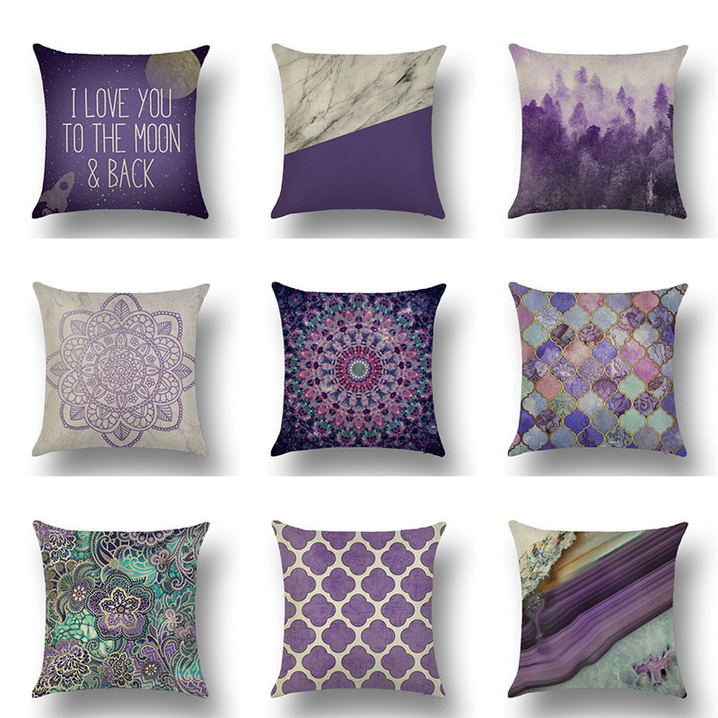 Lychee Purple Cartoon Pattern Pillow Cases Colorful Flax 45x45cm Pillow Cases For Bedroom Home Office