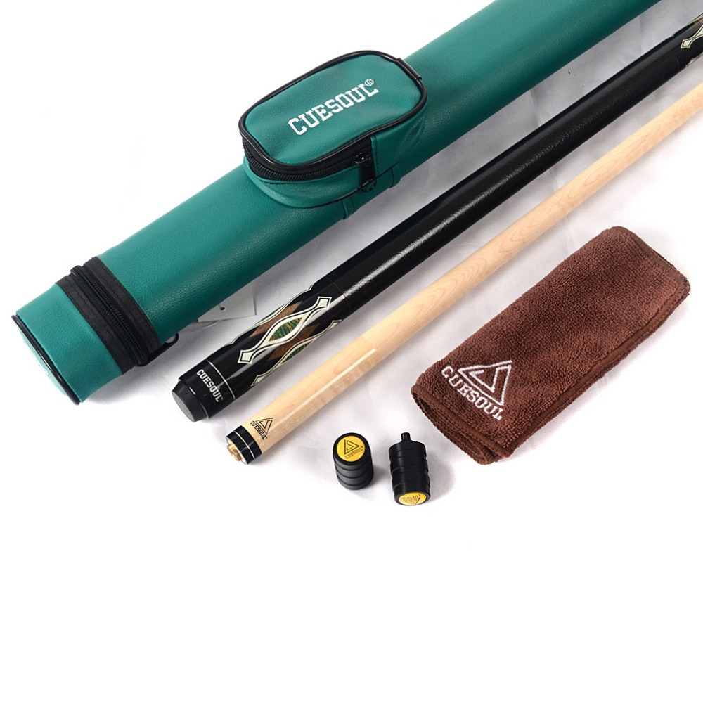 CUESOUL Billiard Pool Cue Stick with Green Cue Case & Free Clean Towel & Cue Protector cuesoul g202x6 6 pieces pool cue stick with cue bridge head cue towel 8 cue stick pool table billiard wall rack for house bar