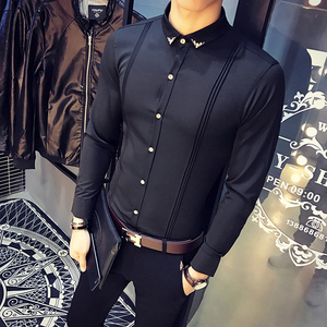 Image 2 - Mens White Shirt Pleated Solid Slim Fit Tuxedo Shirts Male Long Sleeve England Style Casual Social Prom Dress Shirt for Men