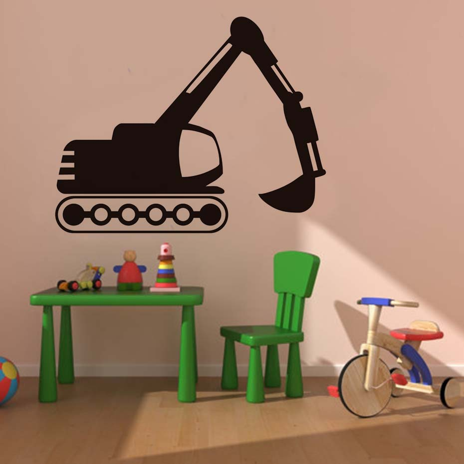 Tread-Wheeled Digger Wall Stickers Traffic Wall Art Vinyl Removable Wallpaper For Kids Room Adhesive Murals Decals Home Dcor