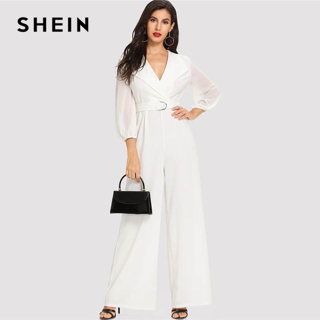 0ab0e30a481 SHEIN White Sheer Sleeve Wide Leg Tailored Jumpsuit Elegant Workwear V neck  Bishop Sleeve Jumpsuits Women Autumn Maxi Jumpsuit