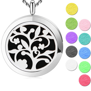 Silver Jewelry  tree of life  Aromatherapy Oils Stainless Steel pendant  Perfume Diffuser Locket Necklace Pendant