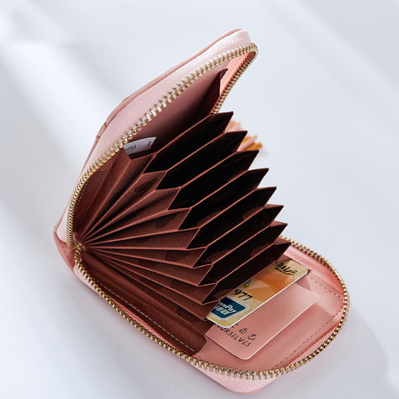 Yesello Candy color Women Card Holder Wallets RFID Purse Zipper Credit Card Bag Zipper Card Case RFID protection