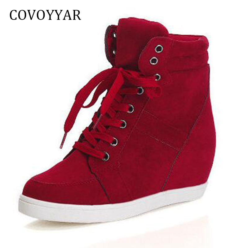 COVOYYAR Autumn High Top Women Sneakers 2018 Winter Hidden Heel Platform Wedge Casual Shoes Lace Up Flock Women Shoes WSN666 cloth camouflage lace up hidden heel womens sneakers