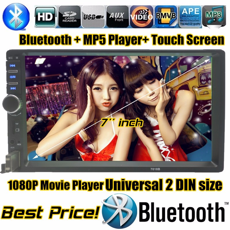 7 inch big screen car MP5 2 DIN Universal In Dash Car radio bluetooth function Video