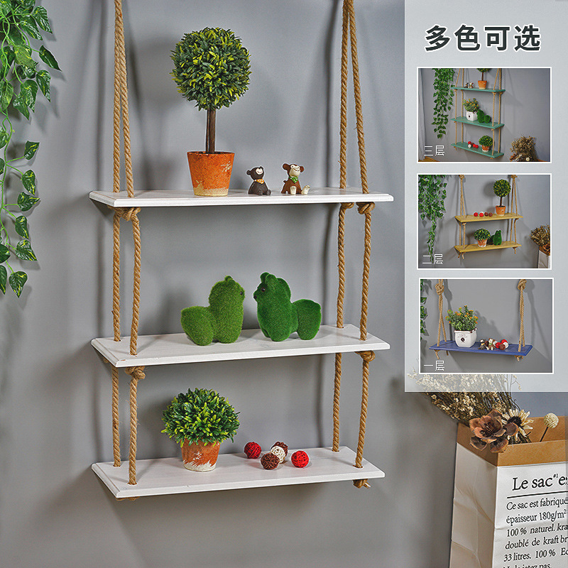 Wooden Wall Shelf Hemp Rope Partition Perforation Solid Wood Wall Hanging Living Room Wall Decoration Shelf Murals Ornaments Полка