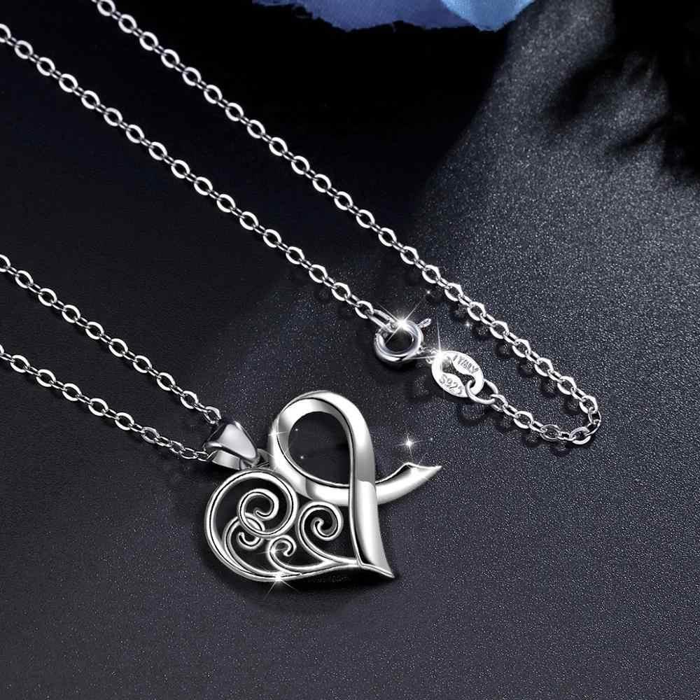 EUDORA Hakiki 925 Ayar Gümüş Celtic Knot Romantik gümüş kalp kolye Kadınlar için Güzel Takı ve Aksesuarları D409