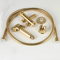 Bathroom copper toilet angle valve spray gun set gold polished hot and cold water body cleaner handheld bidet faucet set