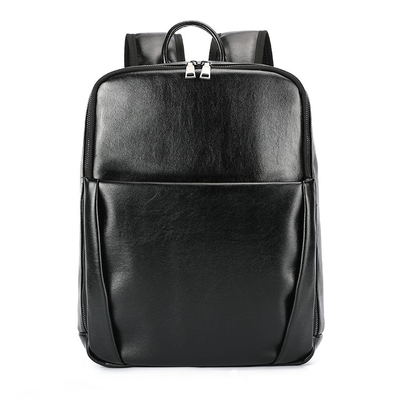 Men's New Trend Backpack Men's Computer Backpack Fashion and Leisure Travel Bag Unisex Shoulder Bags 14 Inch PU Leather Backpack