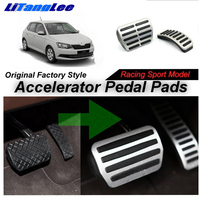 LitangLee Car Accelerator Pedal Pad Cover Foot Throttle Pedal Cover Sport Racing Model For Skoda Fabia NJ 2015~2018 AT