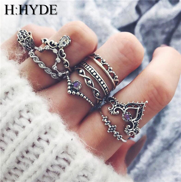 H:HYDE 10 pc/set Charm Silver Color Midi Finger Ring Set Boho Knuckle Party Ring