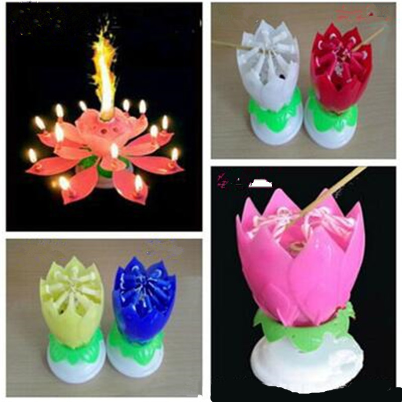 Colorful Romantic Magical Lotus Flower Musical Birthday Candle Party Decoration For Girl Friend Children Gift Family In Candles From Home Garden On