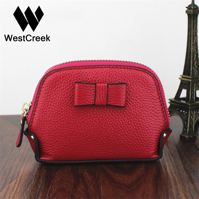 Westcreek Brand Fashion Genuine Leather Ladies Bow Coin and Change Purses Card Holder