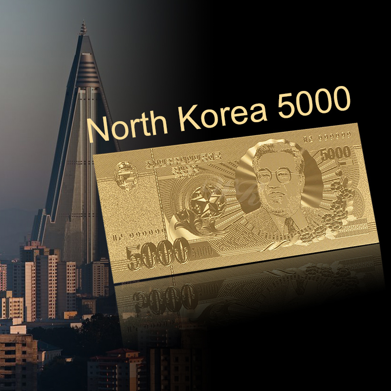 WR Gold Banknote North Korea 5000 Won Asia Banknote Gold Foil Plated Fake Money Collection Creative Gift image