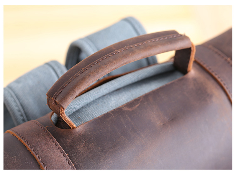 leather handle Manitoba Small Canvas rucksack