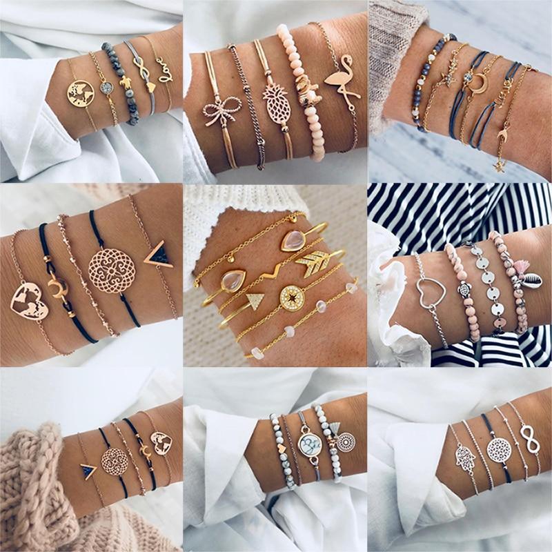 Boho Bangle For women Turtle Elephant Heart Shell Star Moon Bow Arrow Map Crystal Charm Bead Bracelet Set 2019 Bohemian Jewelry