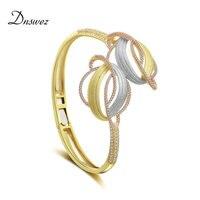 Dnswez Fashion Three Tone Gold Geometric Line Cross Charm Bangle Mirco CZ Open Cuff Statement Bracelet Bangles for Women B1119